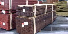 Packed hot-oil treated wood, ready for shipment